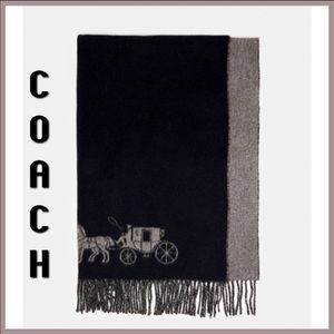 Coach fringe scarf black unisex